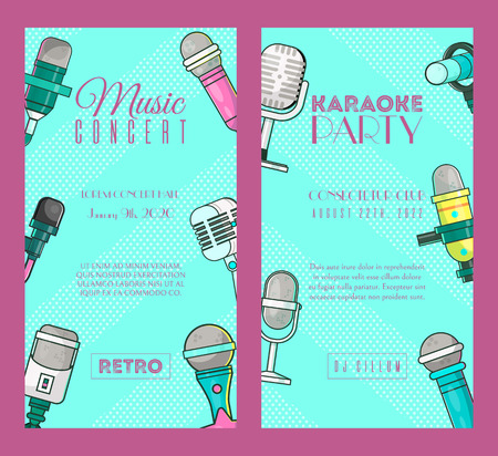 Microphone set of banners vector illustration. Live music concert. Karaoke party posters. Recording songs by singers. Festival advertisement. Public performance. Singing in clubs. Voice sound. Foto de archivo - 123670503