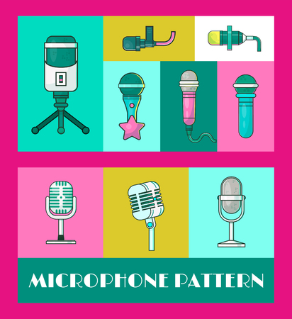 Microphone set of cbanners vector illustration. Live music concert. Karaoke party. Music festival. Retro singers, recordings. Wireless technologies for press and mass media. Journalistic interviews. Illustration
