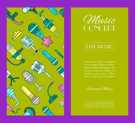 Microphone set of banners vector illustration. Live music concert. Karaoke party posters. Recording songs by singers. Festival advertisement. Public performance. Singing in clubs. Voice sound. Foto de archivo - 123670505