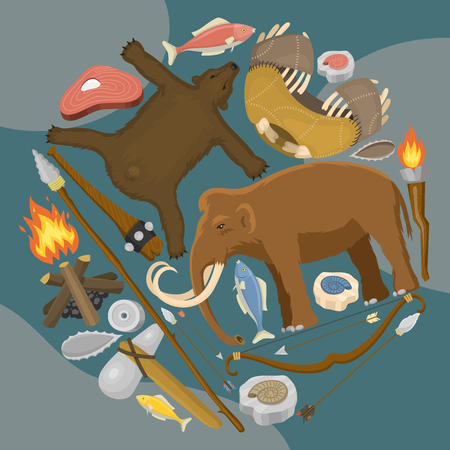 Stone age primitive prehistoric life round pattern vector illustration. Ancient tools and animals. Hunting weapons and household equipment.