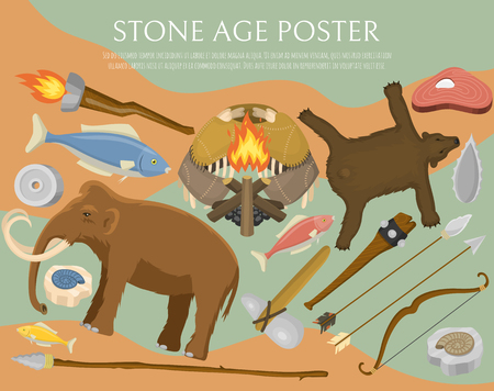 Stone age primitive prehistoric life poster vector illustration. Ancient tools and animals. Hunting weapons and household equipment Illustration