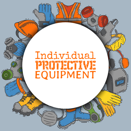 Individual protective equipment for safe work vector illustration. Big sale on health and safety supplies round pattern. Best offer of gloves, helmet, glasses, headphones, protection gas mask. Banque d'images - 123621435