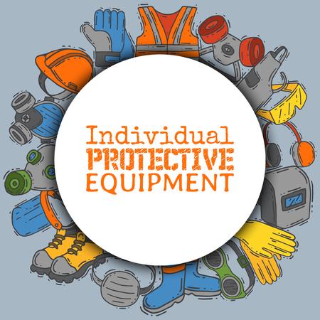 Individuelle Schutzausrüstung für sichere Arbeitsvektorillustration. Großer Verkauf für Gesundheits- und Sicherheitsbedarf rundes Muster. Bestes Angebot an Handschuhen, Helm, Brille, Kopfhörer, Schutzgasmaske. Vektorgrafik