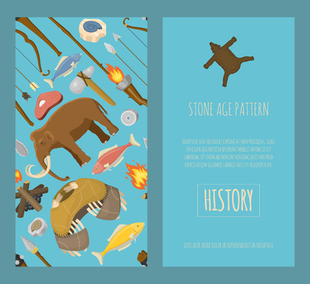Stone age primitive prehistoric life set of banners vector illustration. Ancient tools and animals as mammoth. Hunting weapons and household equipment.