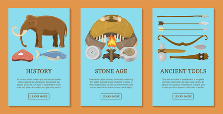 Stone age primitive prehistoric life set of cards, banners vector illustration. Ancient tools and animals. Hunting weapons and household equipment. Illustration