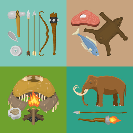 Stone age primitive prehistoric life banner vector illustration. Ancient tools and animals. Hunting weapons and household equipment.