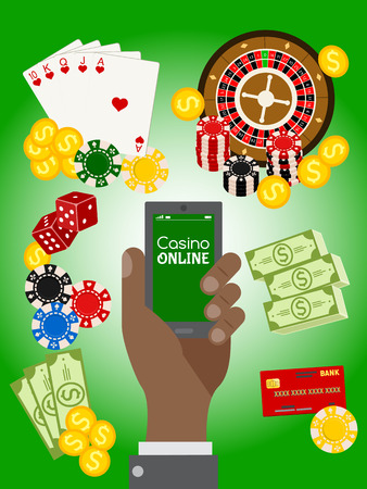Casino online poster vector illustration. Includes roulette, casino chips, playing cards, winning jackpot. Money, credit card, dice, golden coins. Hand holding mobile phone.