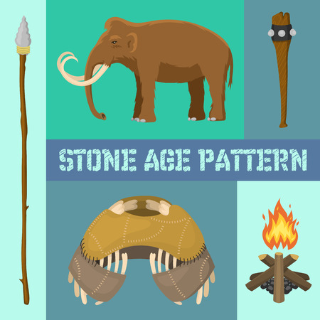 Stone age primitive prehistoric life banner vector illustration. Ancient tools and animals as mammoth. Hunting weapons and household equipment.