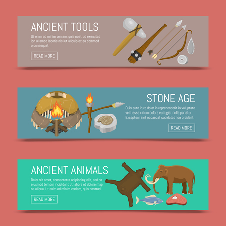 Stone age primitive prehistoric life set of banners vector illustration. Ancient tools and animals. Hunting weapons and household equipment. Illustration