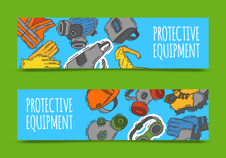 Personal protective equipment for safe work vector illustration. Big sale on health and safety supplies set of banners. Best offer of gloves, helmet, glasses, protection gas mask.