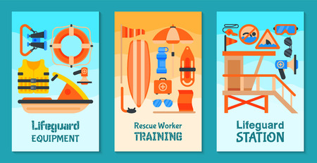 Lifeguard equipment set of cards vector illustration. Rescue worker station. Lifeguard training. Supplies such as life vest, chair, flag, whistle, megaphone, rescue can, board, glasses binoculars