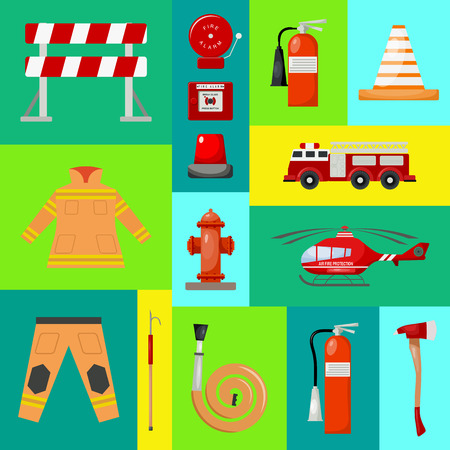 Fire safety banner vector illustration. Firefighter uniform. Helmet, gloves. Equipment as firehose hydrant alarm, bollard, extinguisher station engine, helicopter.