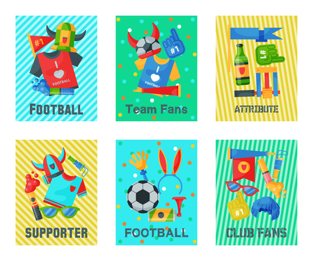 Football fan attributes set of cards, banners vector illustration. Soccer sport fan attribute rooter buff man accessories and supplies to cheer for your favorite team. Supporter. Club fans. Ilustração
