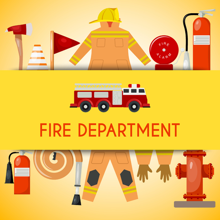Fire department banner vector illustration. Firefighting equipment and tools firehose hydrant, alarm, bollard and extinguisher. Fireman uniform with helmet and gloves engine. Stock Illustratie