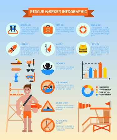 Rescue worker infographic poster vector illustration. Lifeguard equipment. Rescue worker station. Lifeguard training. Supplies such as life vest, chair, flag, whistle, megaphone, rescue can.
