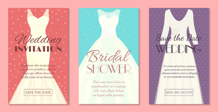 Different styles of wedding dresses set of banners, cards vector illustration. Choose your perfect cloth for your body type. Wedding invitation, bridal shower. Save the date. Fashion for bride.