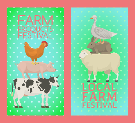 Farm products festival banner vector illustration. Collection of cute pet animal. Domestic animals as cow, pig and goose, rabbit, hen, turkey, chick, sheep. Local market. Organic food.