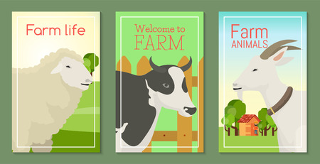 Farm life with animals set of banners vector illustration. Collection of cute pets. Domestic animals as cowin front of fence, goat, sheep. Local market. Farmer near house with trees.