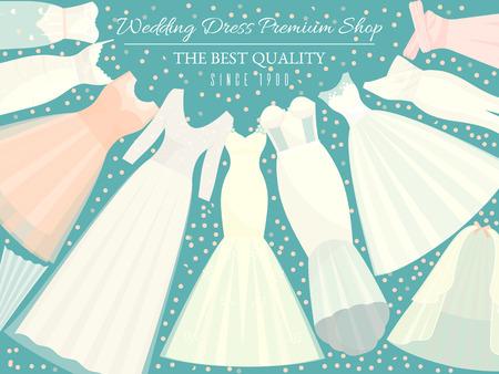 Diversi stili di abiti da sposa banner illustrazione vettoriale. Scegli il tuo capo perfetto per il tuo tipo di corpo. Invito a nozze, addio al nubilato. Salva la data. Negozio premium di abiti alla moda per la sposa. Vettoriali