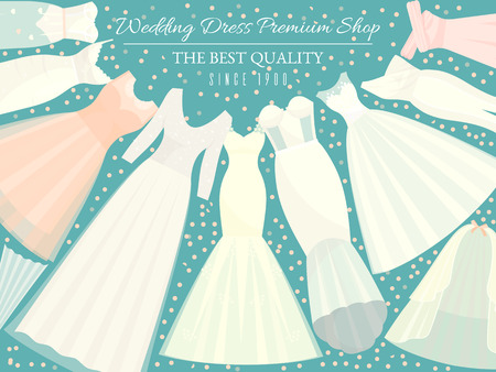 Different styles of wedding dresses banner vector illustration. Choose your perfect cloth for your body type. Wedding invitation, bridal shower. Save the date. Fashion dress premium shop for bride. Illustration