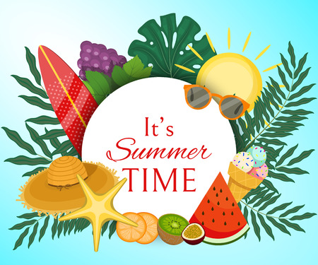 It s summer time banner vector illustration. Palm tree leaves with fruit such as grapes, kiwi, slices of orange, watermelon and accessories as hat, sun glasses, board for surfing.