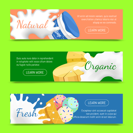 Fresh dairy products concept set of banners vector illustration. Organic, quality food. Great taste and nutritional value. Farm animal milk, ice cream and cottage cheese.