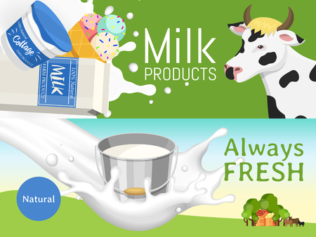 Fresh dairy products concept banner vector illustration. Organic, quality food. Great taste and nutritional value. Farm animal milk, ice cream and cottage cheese. Stable with trees. Always fresh.