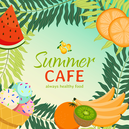 Summer cafe banner vector illustration. Always healthy food poster. Juicy, organic, fresh fruit such as watermelon, slices of orange, banana, kiwi, pear. Ice cream and palm tree leaves.