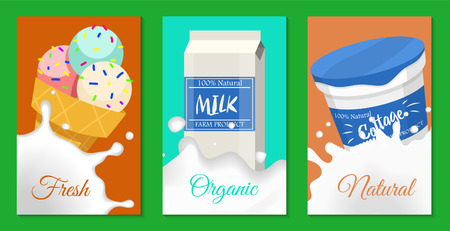Dairy products concept set of banners, cards vector illustration. Organic, quality food. Great taste and nutritional value. Farm natural milk, ice cream and cottage cheese. Always natural and fresh.