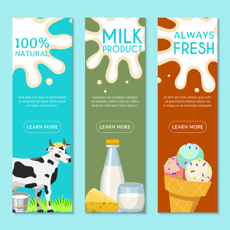 Fresh dairy products concept set of banners vector illustration. Organic, quality food. Great taste and nutritional value. Farm milk, ice cream and cottage cheese. Always fresh. Cow on green grass.