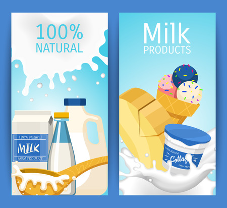 Fresh dairy products concept set of banners vector illustration. Organic, quality food. Great taste and nutritional value. Farm animal milk, ice cream and cottage cheese. Always fresh.