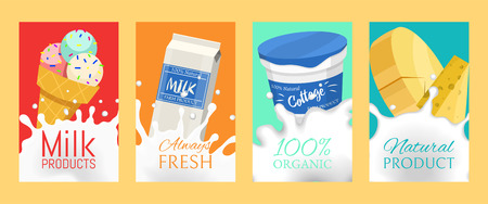 Fresh dairy products concept set of banners, cards vector illustration. Organic, quality food. Great taste and nutritional value. Farm animal milk, ice cream and cottage cheese.