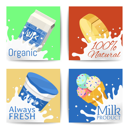 Dairy products concept set of banners vector illustration. Organic, quality food. Great taste and nutritional value. Farm natural milk, ice cream and cottage cheese. Always natural and fresh.