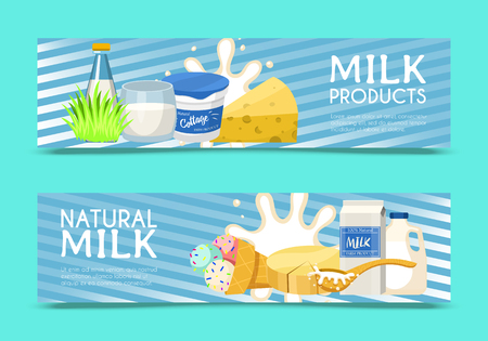 Fresh dairy products concept set of banners vector illustration. Organic, quality food. Great taste and nutritional value. Farm natural milk, ice cream and cottage cheese. Always fresh. Green grass.