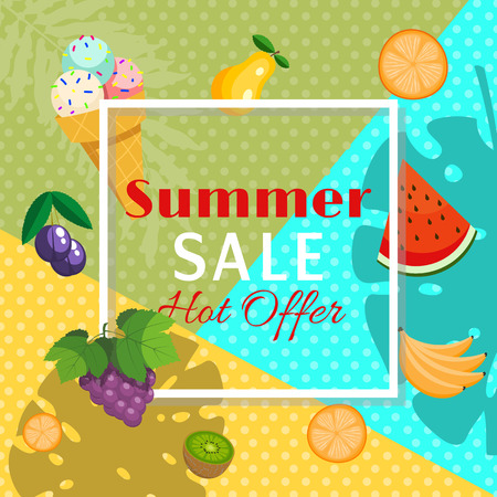 Summer sale banner with fruits such as orange, watermelon, banana, kiwi, grapes, plum, pear with tree leaves and ice cream vector illustration. For Promotions. Special hot offer.