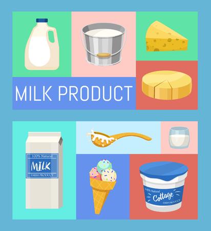 Prodotti lattiero-caseari o latte set illustrazione vettoriale. Set di banner per alimenti freschi, di qualità e biologici. Ottimo gusto e valore nutritivo. Latte, formaggio, yogurt, ricotta, panna acida. Cibo salutare.