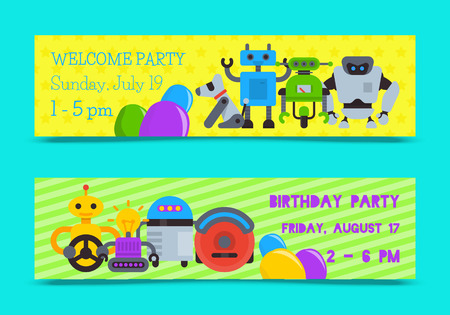 Robot waving with robotic dog friend design for kid party set of banners vector illustration. Birthday party welcome. Celebration. Futuristic artificial intelligence technology.