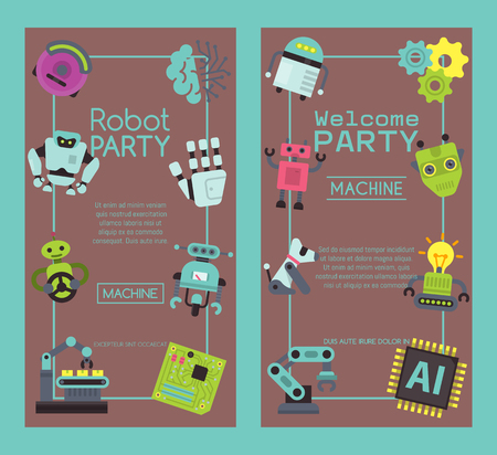 Robot waving, robotic dog friend design for kid party set of banners vector illustration. Birthday party welcome. Celebration. Futuristic artificial intelligence technology.