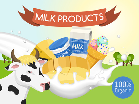 Fresh dairy products concept banner, poster vector illustration. Organic, quality food. Great taste and nutritional value. Farm animal milk, ice cream and cottage cheese. Иллюстрация
