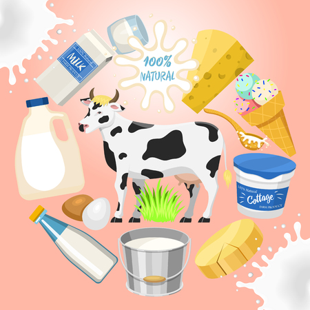 Dairy products concept round pattern vector illustration. Organic, quality food. Great taste and nutritional value. Farm cow natural milk, ice cream and cottage cheese. Always natural and fresh.