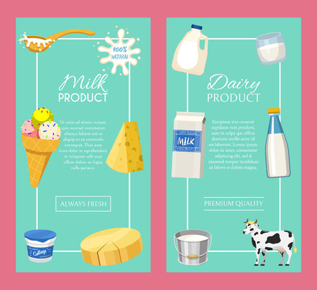 Dairy products or milk set vector illustration. Fresh, quality, organic food set of banners, posters. Great taste and nutritional value. Milk, cheese, yogurt, cottage cheese, sour cream.