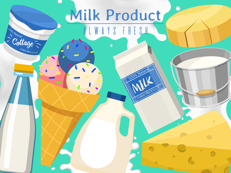 Dairy products concept banner, cposter vector illustration. Organic, quality food. Great taste and nutritional value. Farm natural milk, ice cream and cottage cheese. Always natural and fresh. Çizim