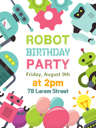 Robot waving, robotic humanoids for kid party poster vector illustration. Happy birthday party welcome. Celebration for children. Futuristic artificial intelligence technology.