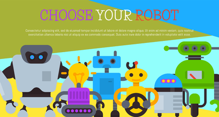 Robot with car wheel, robotic humanoids for kid party poster vector illustration. Happy birthday party welcome. Futuristic artificial intelligence technology. Electronical device.