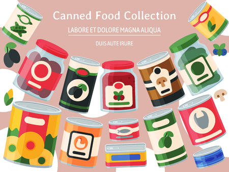 Canned food poster vector illustration. Vegetable product tinned container metal packaging. Soup conserve package can. Healthy goods grocery meal. Canning tinned steel lid shop vegetarian.