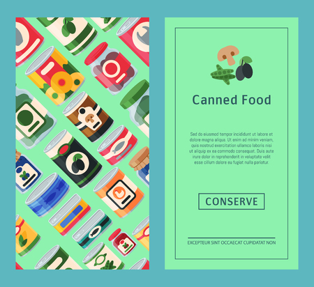 Canned food banner vector illustration. Vegetable product tinned container metal packaging. Soup conserve package can. Healthy goods grocery meal. Canning tinned steel lid shop vegetarian poster. Banque d'images - 124008318