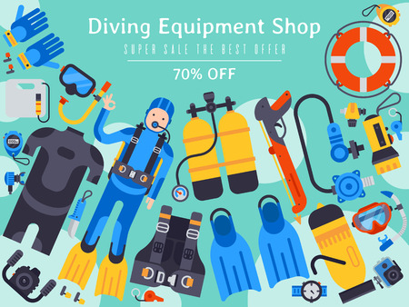 Underwater diving sport shop banner poster templates vector illustration. Water diving activity scuba dive equipment. Active swimming tourism tools adventure. Snorkeling recreation concept.