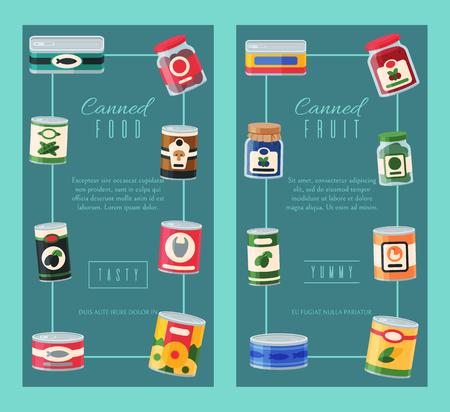 Canned food banner vector illustration. Vegetable product tinned container metal packaging. Soup conserve package can. Healthy goods grocery meal. Canning tinned steel lid shop vegetarian poster.