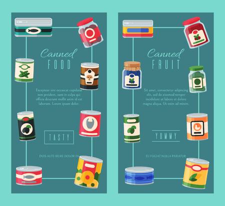 Konserven-Banner-Vektor-Illustration. Konservenverpackungen aus Metall für pflanzliche Produkte. Suppenkonservenpaket kann. Gesunde Lebensmittel-Lebensmittel-Mahlzeit. Vegetarisches Poster mit Dosendeckel aus Stahlblech. Vektorgrafik