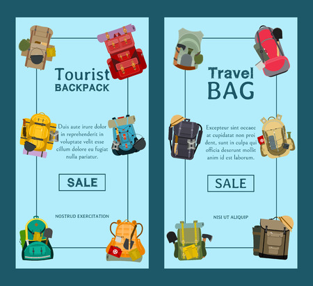 Tourist camping backpack set of banners. Travel accessories vector illustration. Classic styled hiking backpacks with sleeping bags. Camp and hike colorful bags and knapsacks. Illustration